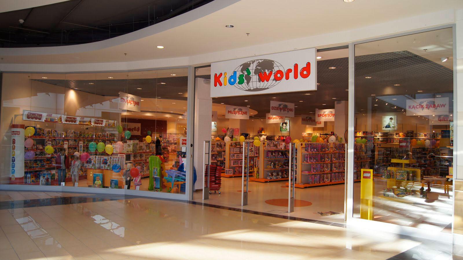 Witryna sklepu z zabawkami Kids World Białystok Galeria Alfa