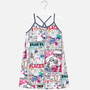Krótka sukienka z nadrukiem miast