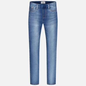 Długie spodnie z jeansowej tkaniny