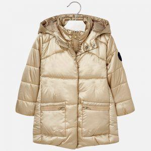 Mayoral Długa pikowana kurtka z kapturem dla dziewczynki