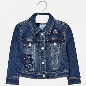 Mayoral Jeansowa kurtka z haftem dla dziewczynki