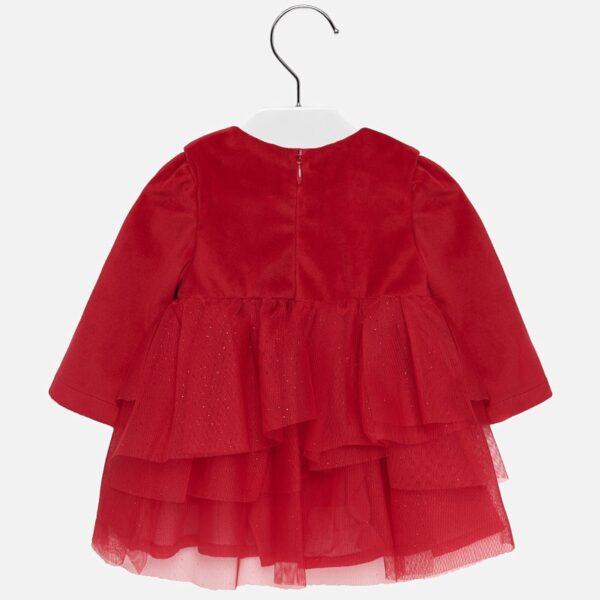 Mayoral Sukienka dla dziewczynki z falbankami czerwona